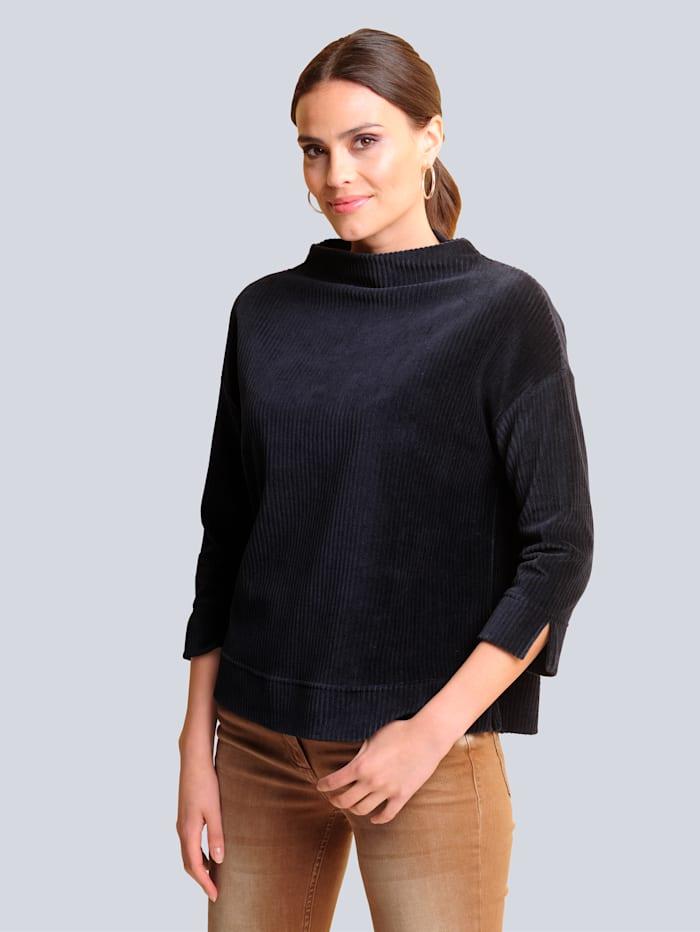 Alba Moda Shirt im modischen Breitcord, Marineblau