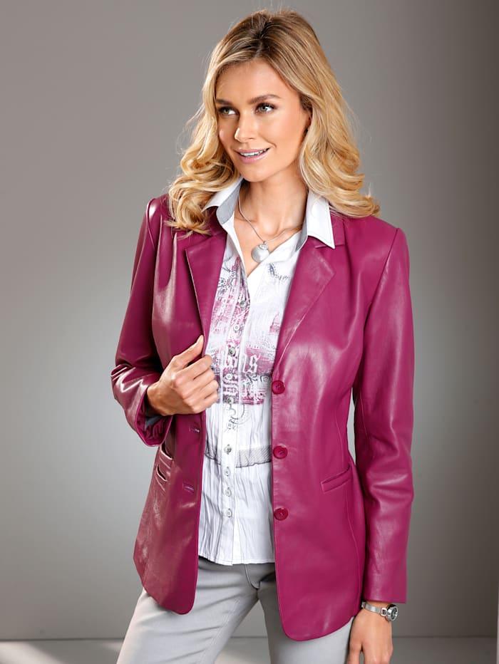 Paola Leren jasje van lamsnappa, Roze