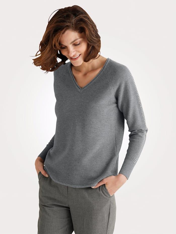 MONA Pullover mit Zierplättchen, Grau
