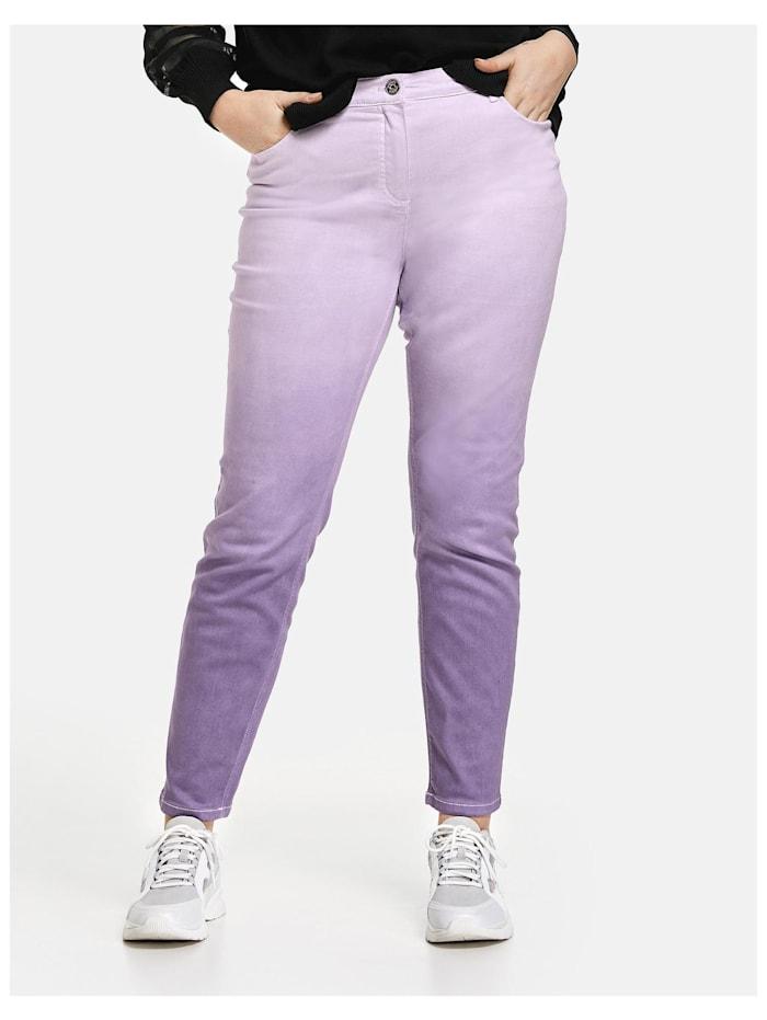 Samoon 5-Pocket-Hose mit Farbverlauf, Pastel Lilac gemustert