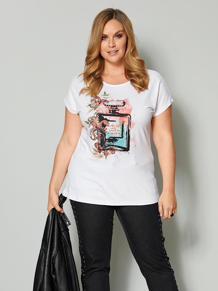 Sara Lindholm Shirt mit Parfüm-Motiv, Off-white/Orange
