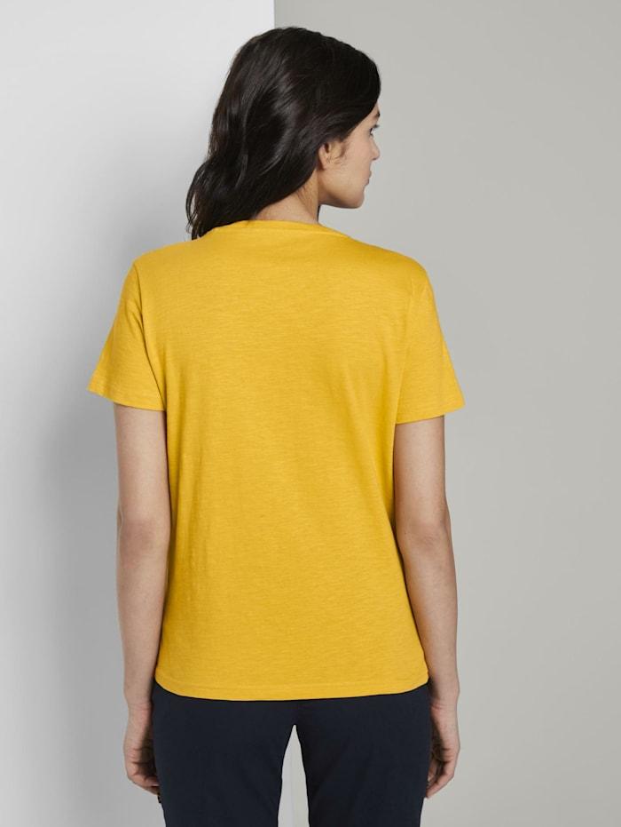 T-Shirt mit V-Ausschnitt und kleinem Print