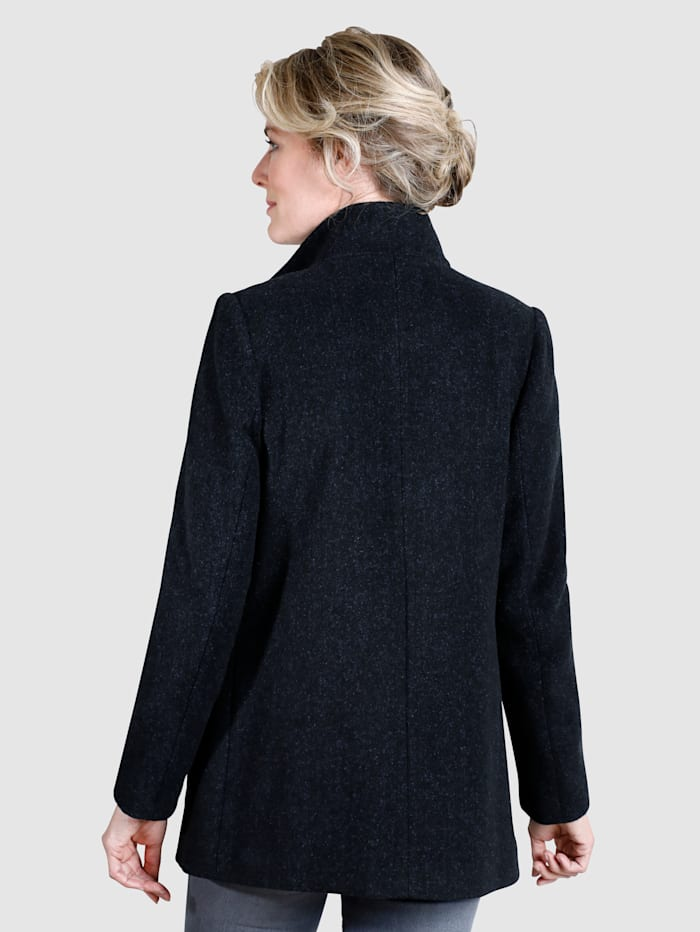 Wool Jacket with concealed, two-way zip