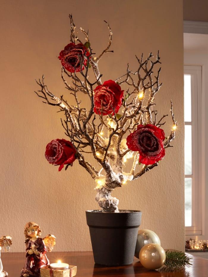 Tekoluminen LED-koristepuu ruukussa