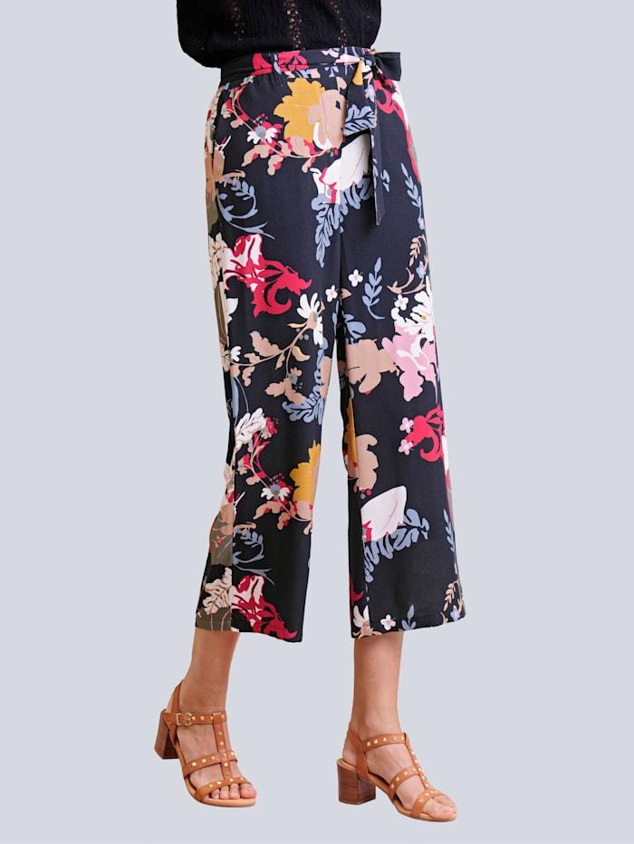 Alba Moda Nohavice s kvetinovým vzorom, Čierna/Zelená/Ružová