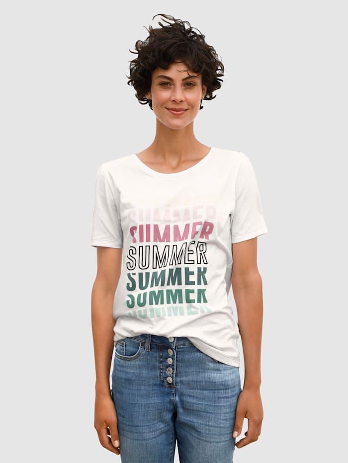 Dress In Shirt mit sommerlichen Druck, Weiß
