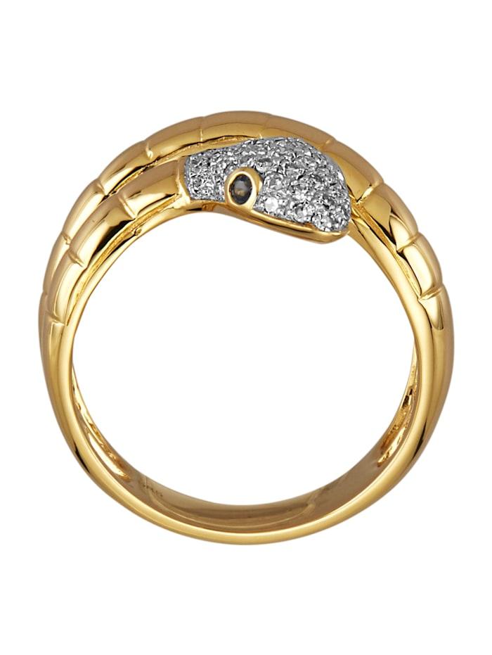 Schlangen-Ring mit Diamanten und Saphiren