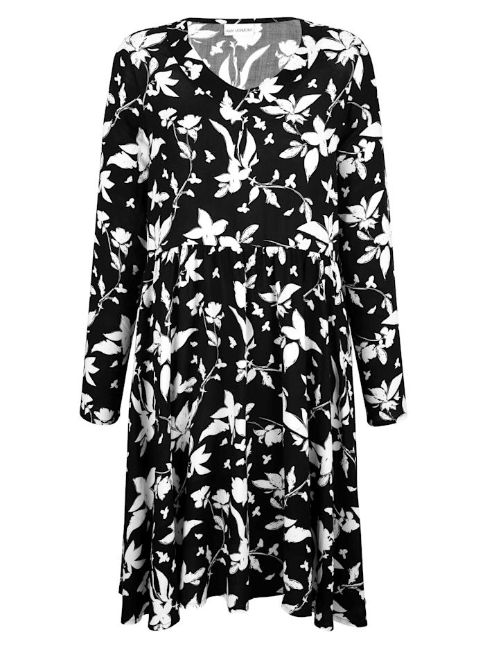 AMY VERMONT Kleid mit floralem Muster allover, Schwarz/Weiß