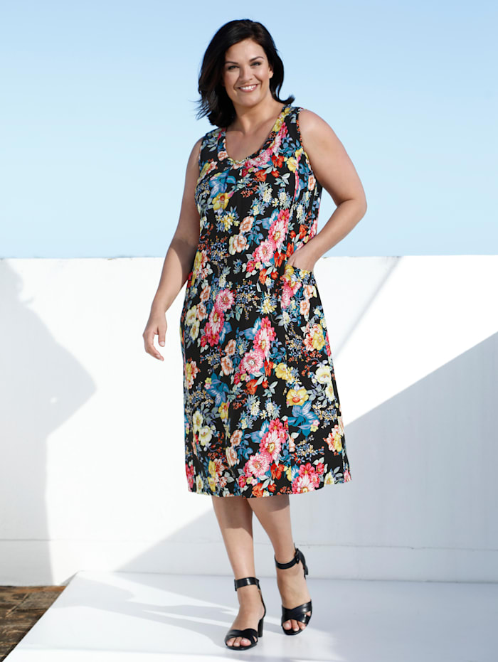 m. collection Kleid mit Blumendruck, Multicolor