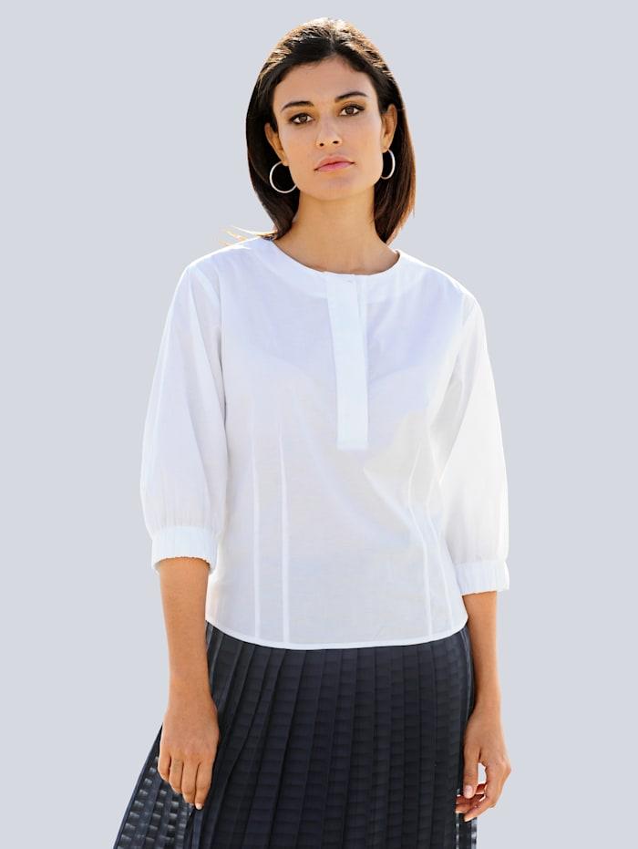 Alba Moda Bluse mit modisch, weiterem Arm, Weiß