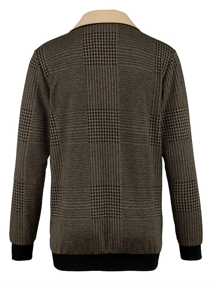 Sweatshirtjacka med garnfärgat mönster