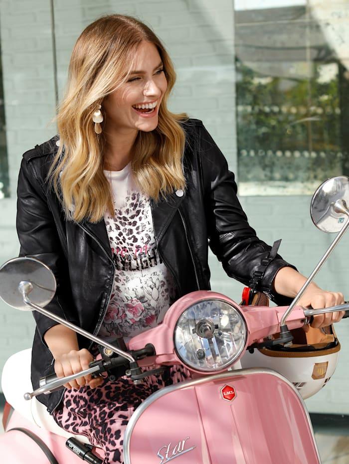 Sara Lindholm Leren jasje in bikerstyle, Zwart