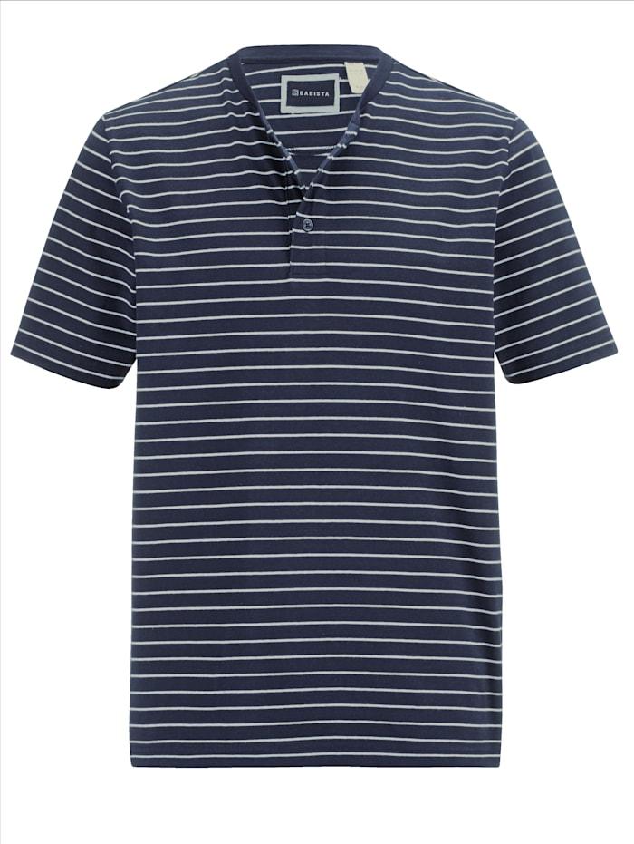 BABISTA Henleyshirt aus reiner Baumwolle, Marineblau/Weiß
