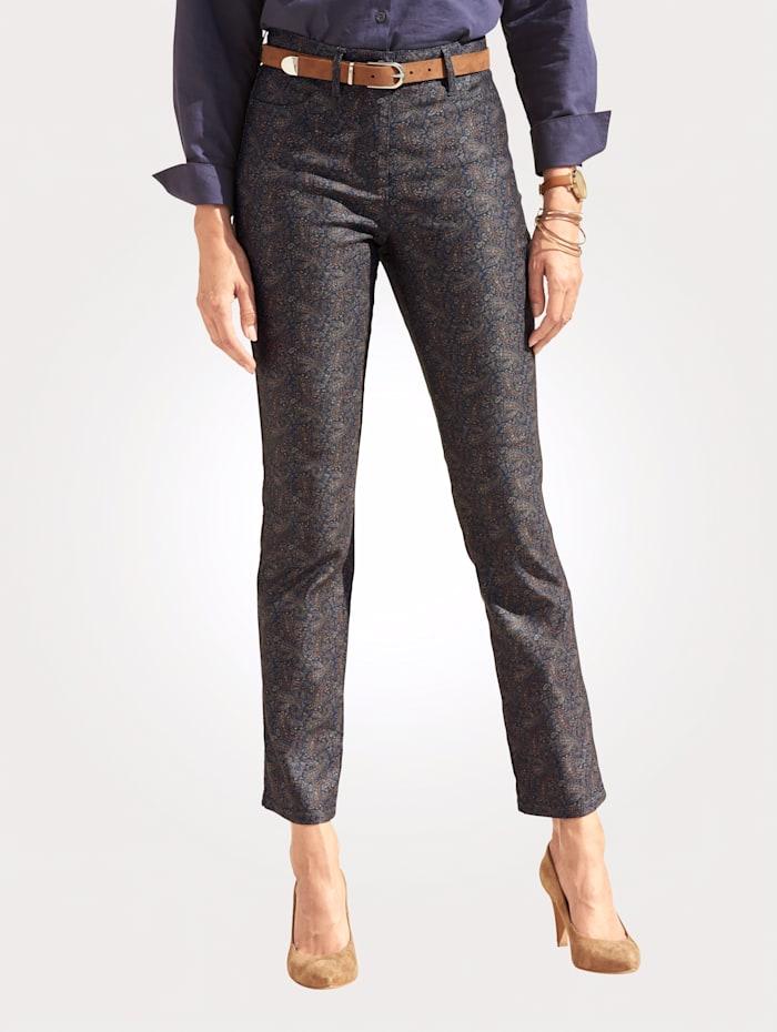 Toni Pantalon à motif cachemire, Marine/Multicolore
