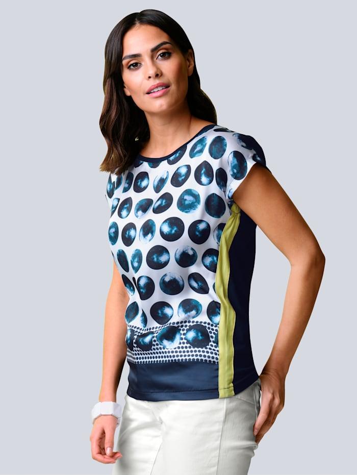 Alba Moda Shirt mit abstraktem Punktedessin, Marineblau/Weiß/Limettengrün