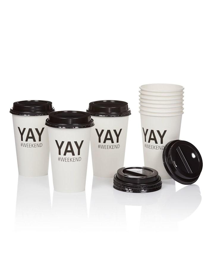 IMPRESSIONEN Coffee to go Becher-Set, 10-tlg., weiß/schwarz