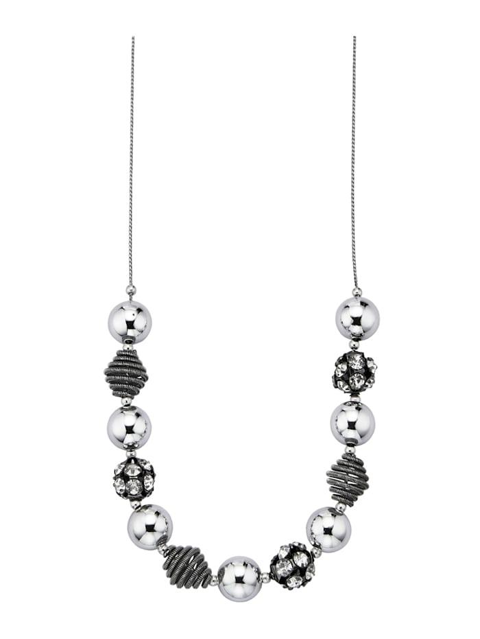 KLiNGEL Collier mit Zierkugeln, Silberfarben