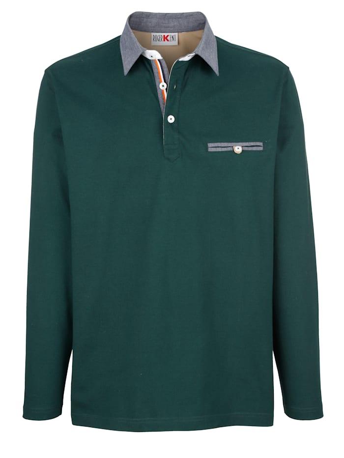 Roger Kent Poloshirt met details van chambray, Donkergroen