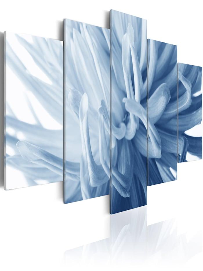 artgeist Wandbild Blaue Dahlie, Himmelblau,Weiß