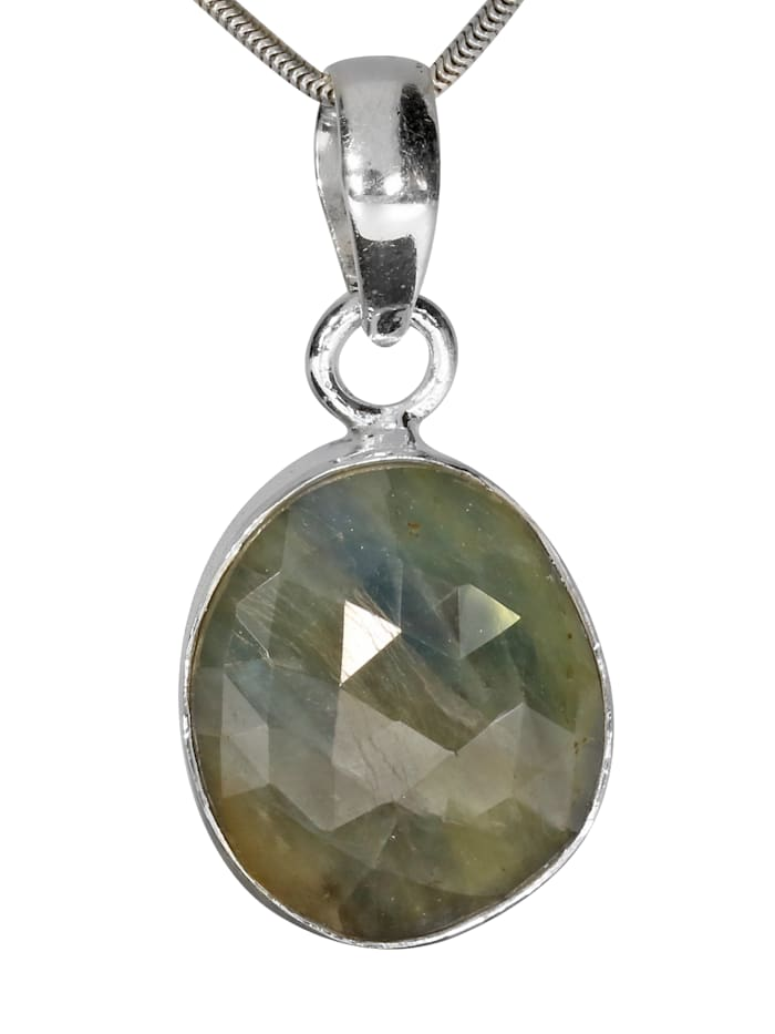 1001 Diamonds Damen Schmuck Edelstein Labradorit Anhänger 925 Silber grau, grau