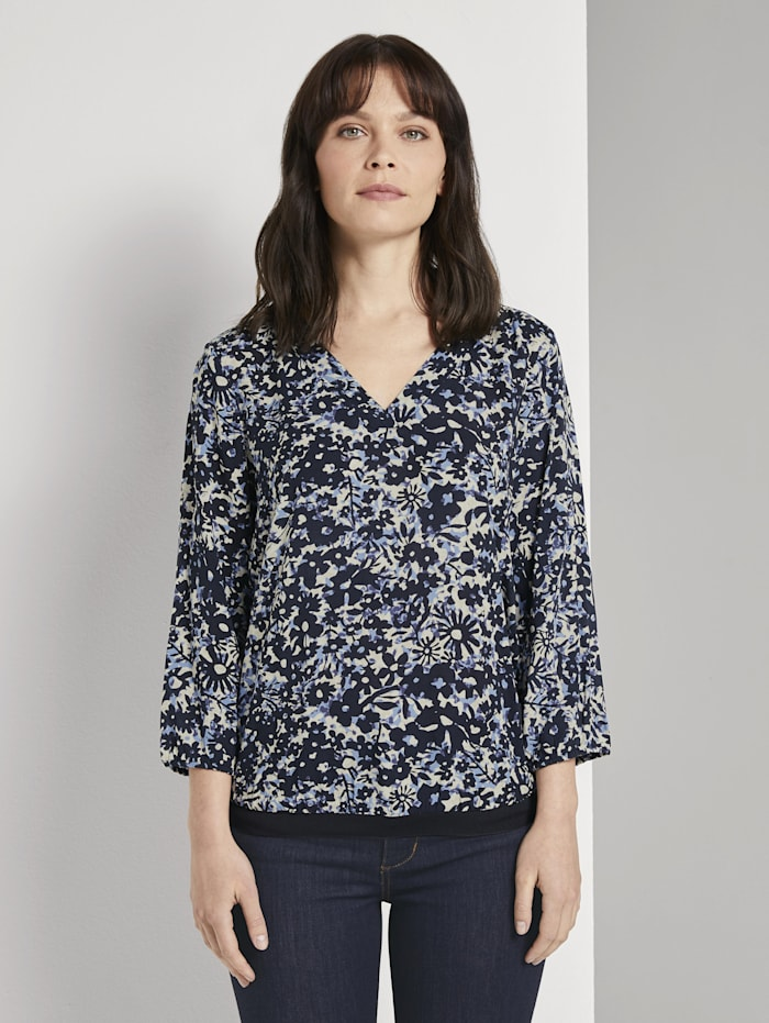 Tom Tailor Gemusterte Bluse mit Tape-Details, blue flower design