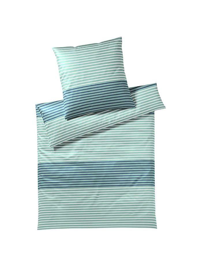 Elegante Mako-Satin Bettwäsche Seastripe aquagrün, aquagrün