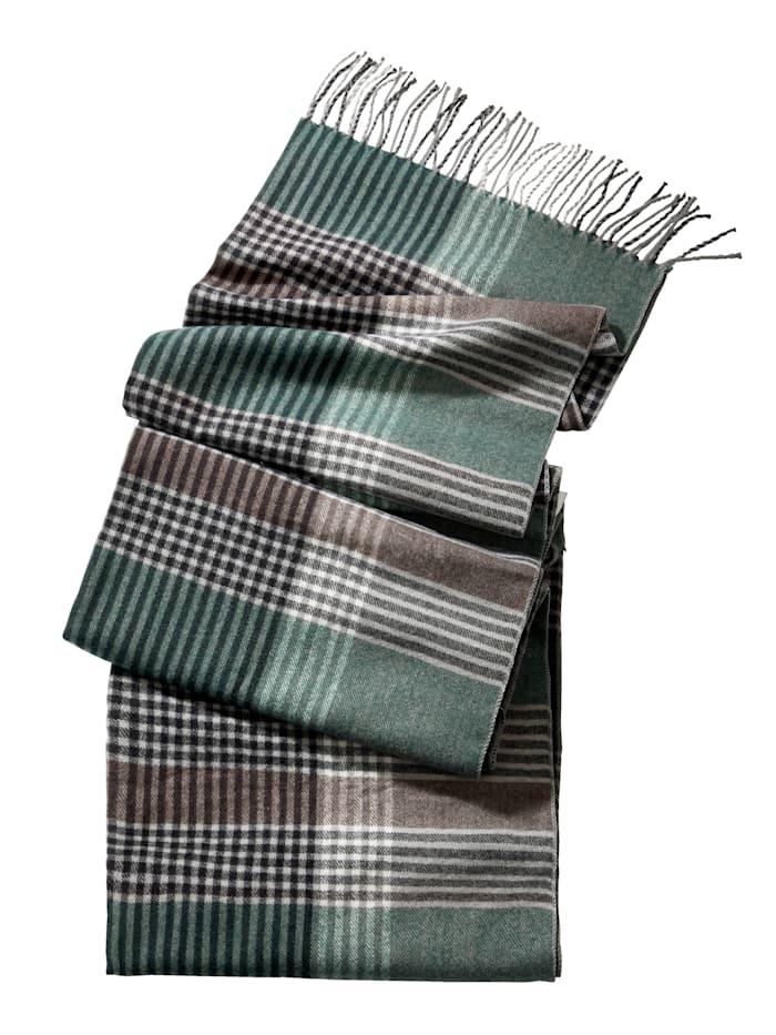 Sjaal, groen/bruin/grijs