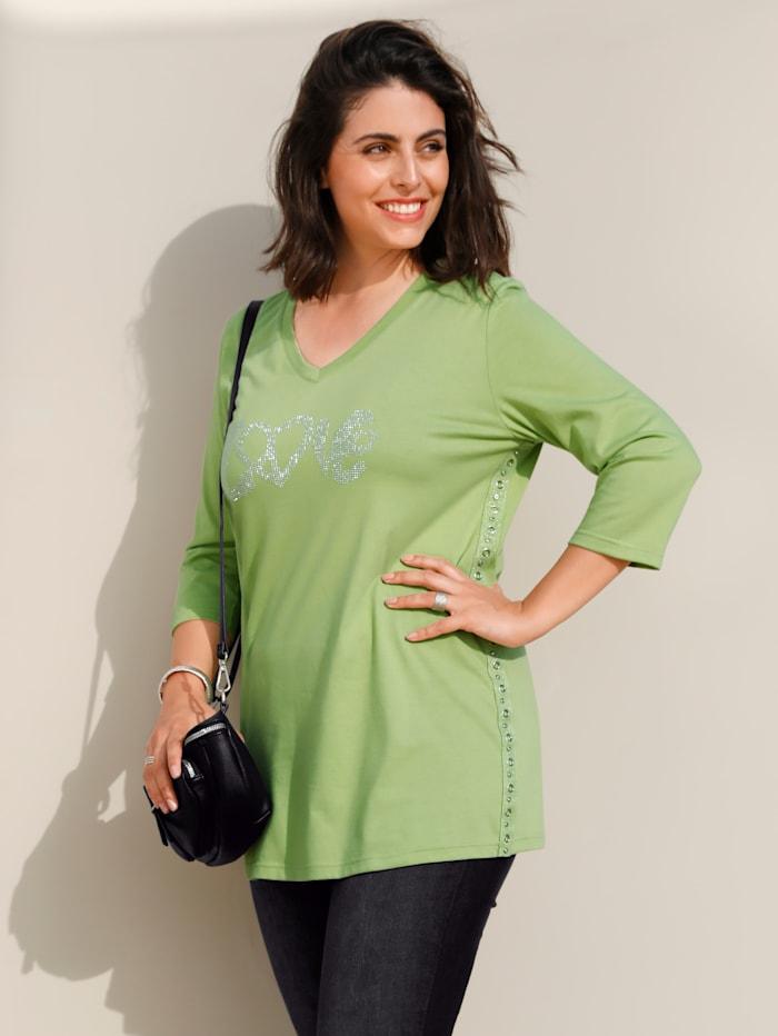 MIAMODA Shirt mit Dekosteinen, Grün