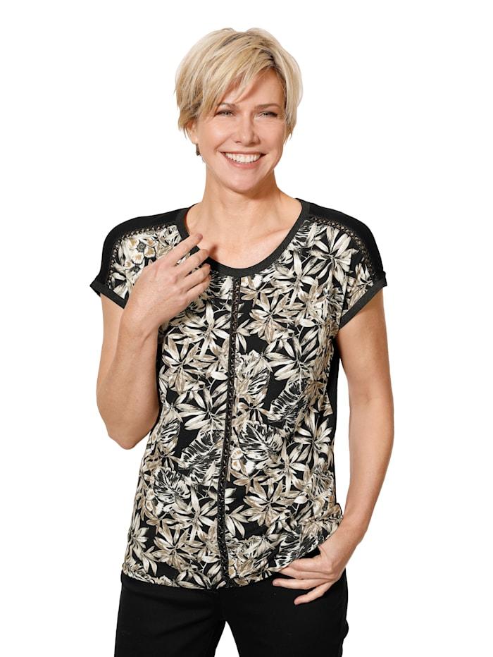 MONA Shirt met gevlochten sierbandjes, Zwart/Zand