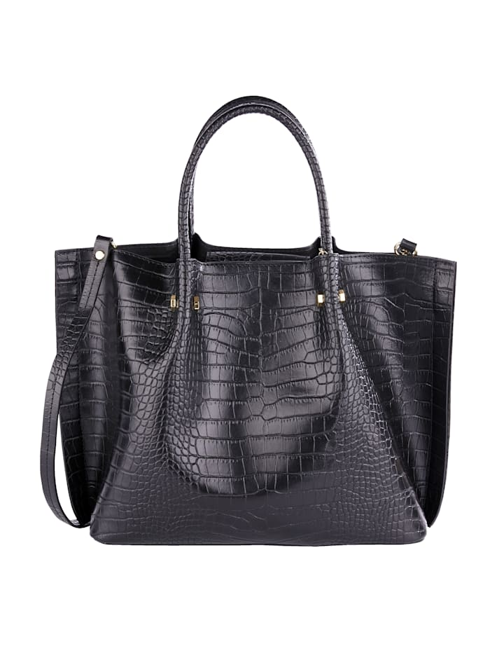 MONA Handbag made from embossed leather 2-piece, Black