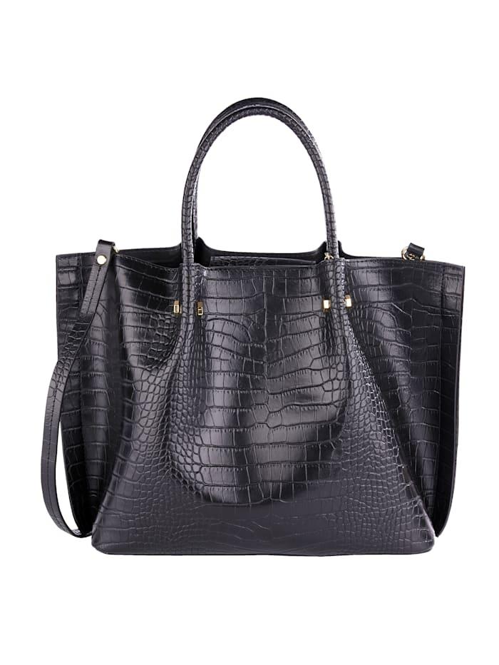 MONA Handtasche 2-tlg mit Krokoprägung 2-teilig, schwarz-kroko