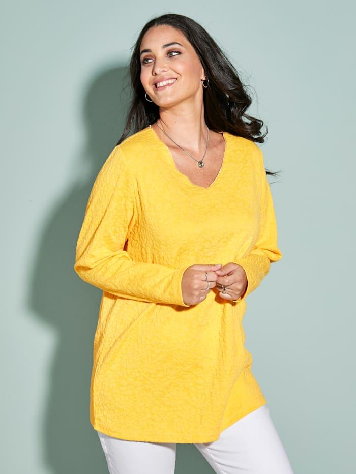 MIAMODA Sweatshirt van structuurmateriaal, Geel