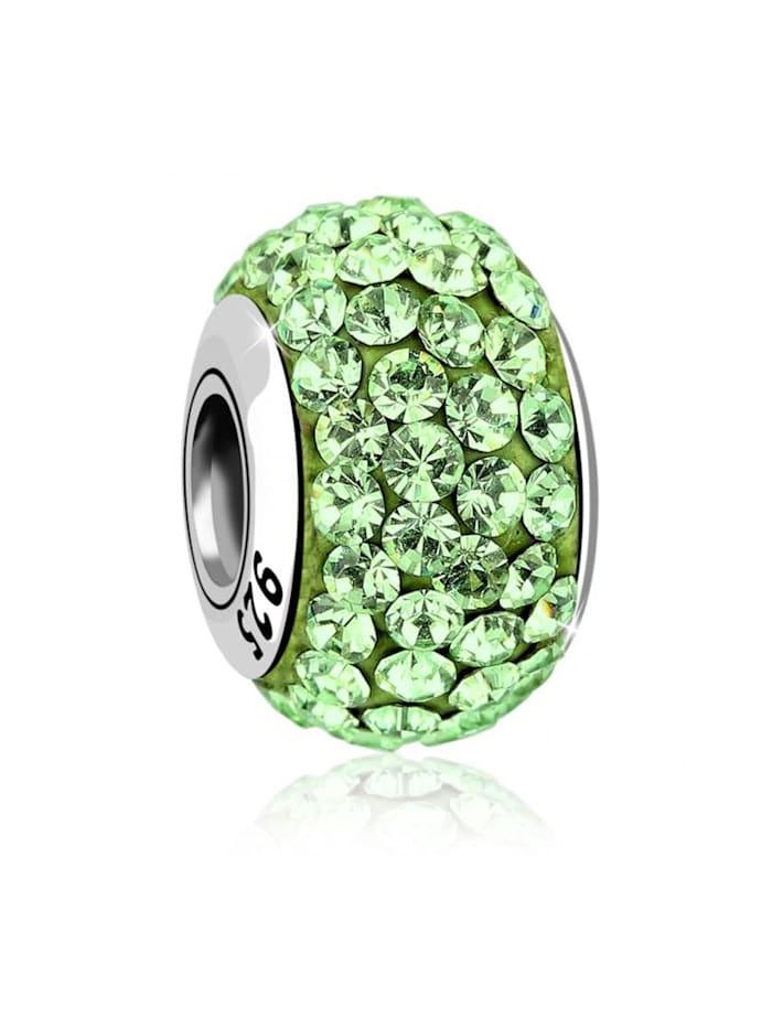 Nenalina Charm Kugel Bead Swarovski® Kristalle Glitzer 925 Silber, Grün