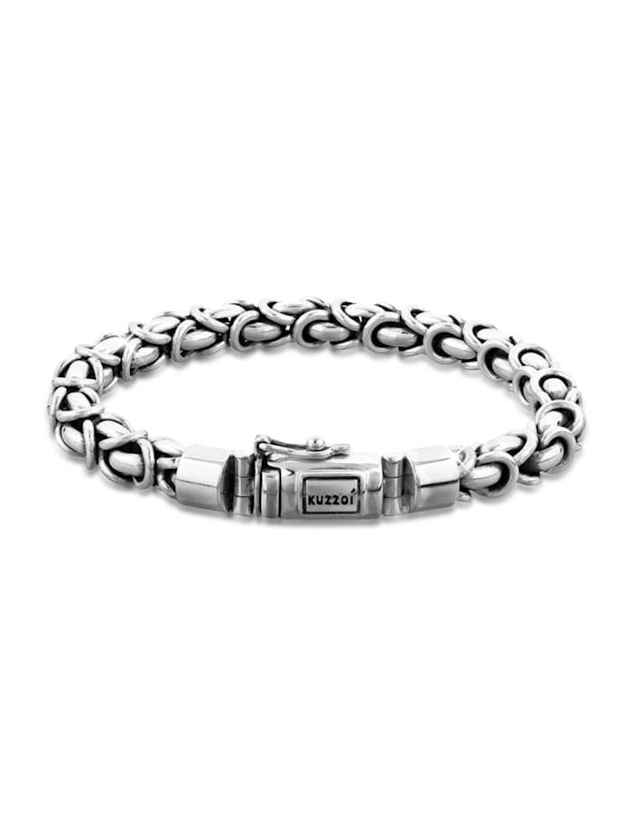Kuzzoi Armband Herren Panzerarmband Königskette Basic 925 Silber, Silber