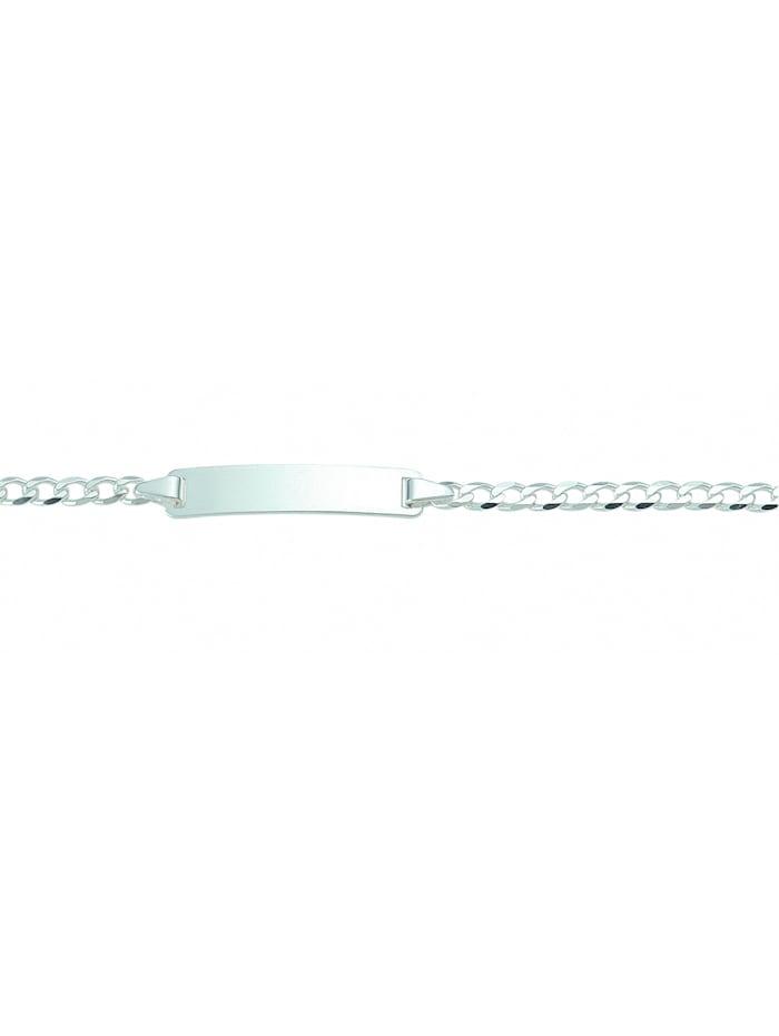 1001 Diamonds Damen Silberschmuck 925 Silber Flach Panzer Armband 18 cm Ø 3 mm, silber