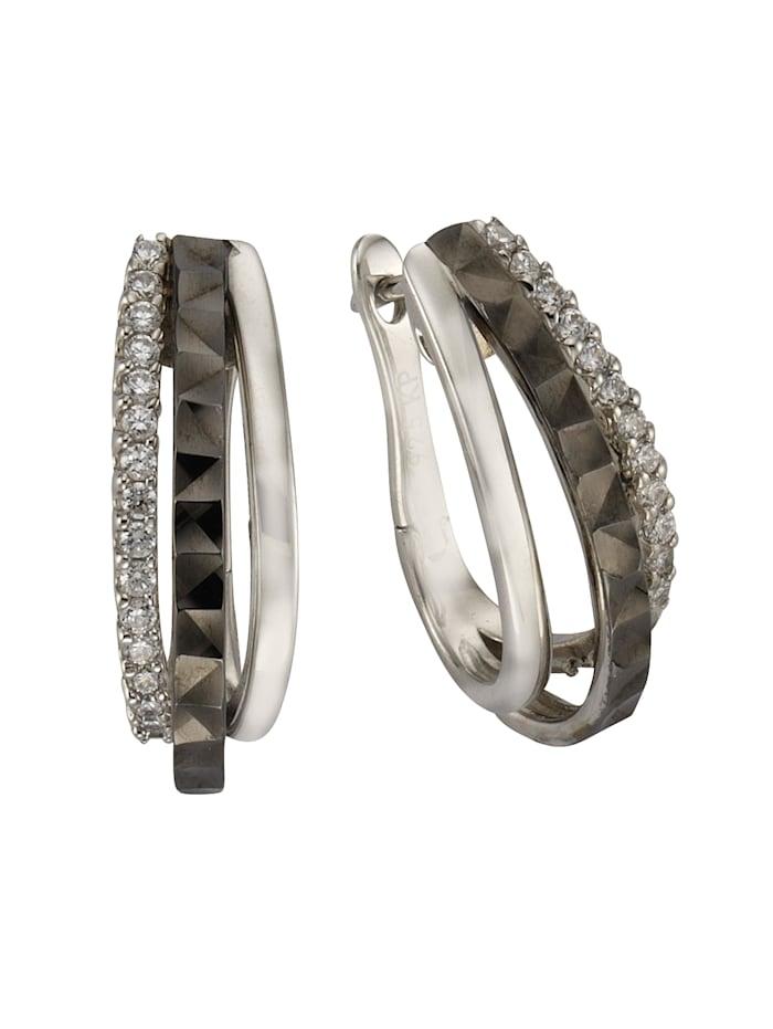 Celesta Creolen 925/- Sterling Silber Zirkonia weiß 2,2cm Glänzend 925/- Sterling Silber, weiß/schwarz