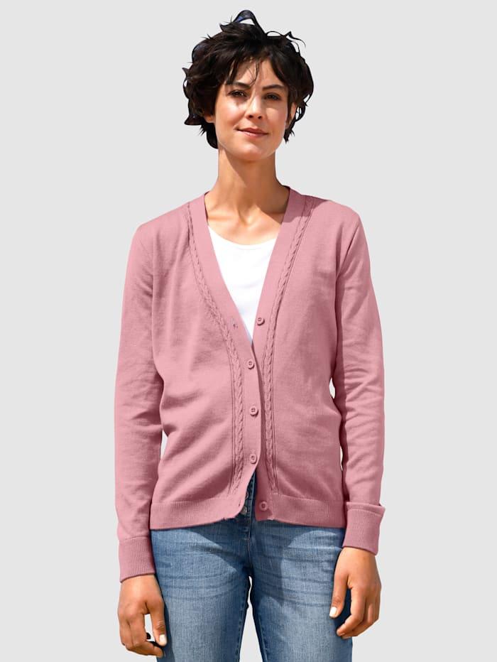 Dress In Cardigan mit Zopfmuster, Lavendel