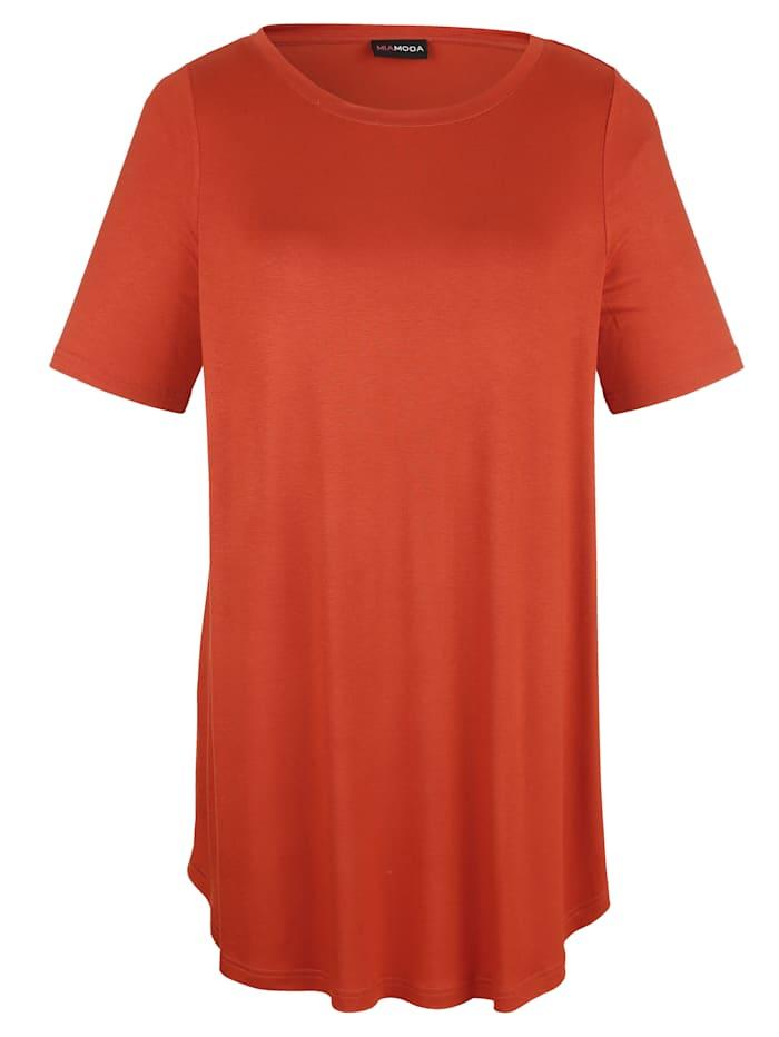MIAMODA Longshirt mit femininem Ausschnitt, Terracotta