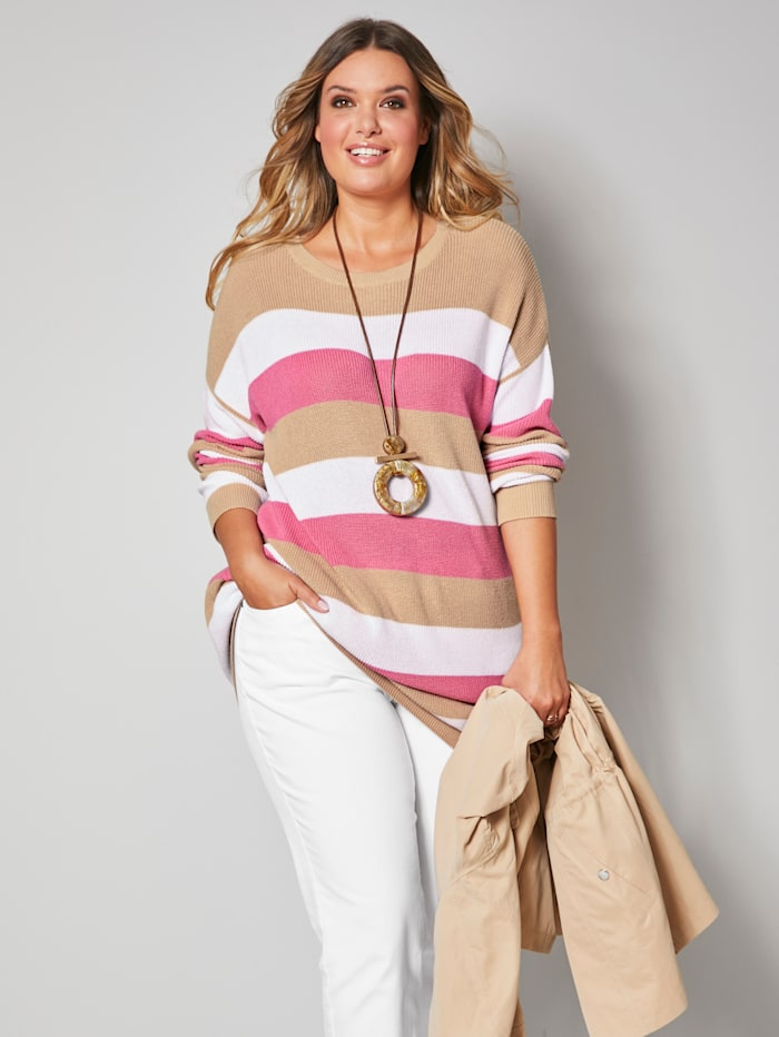 Janet & Joyce Trui met strepen allover, Zand/Pink/Offwhite