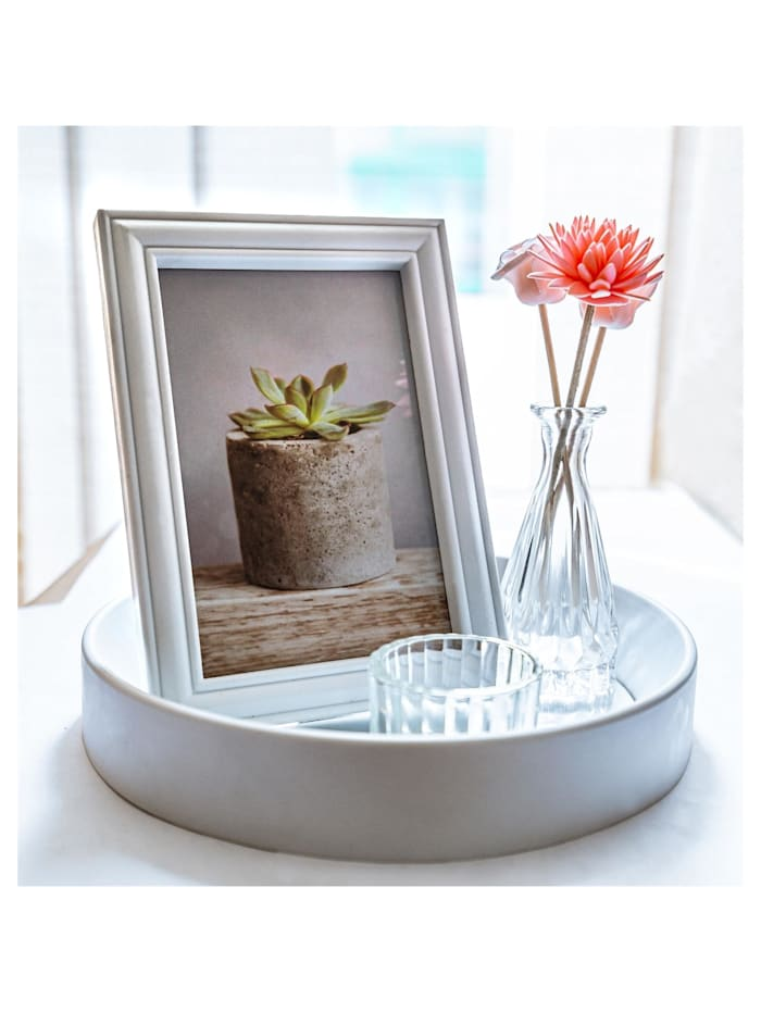 HTI-Line Deko-Tablett Viola, Weiß, Transparent