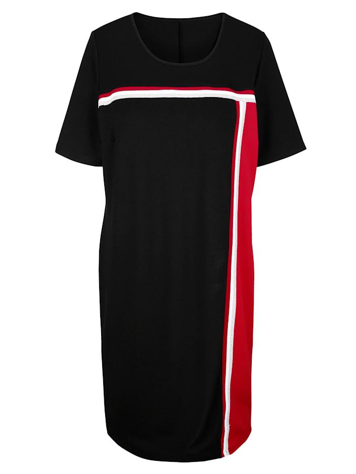 Kleid mit streckendem Streifenbesatz
