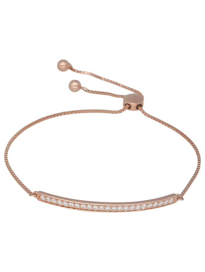 Smart Jewel Armband mit Zirkonia Steinen, Sliding Verschluss, Silber 925, Rosé vergoldet