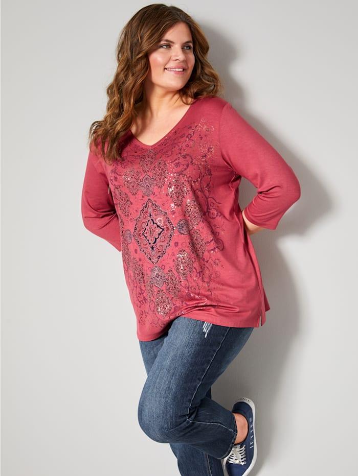 Janet & Joyce Shirt mit Folienprint, Terracotta/Goldfarben