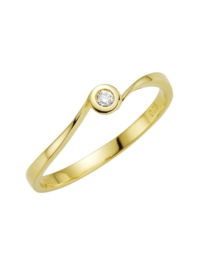 Orolino Ring 585/- Gold Brillant weiß Brillant Glänzend 0.03 Karat 585/- Gold, gelb