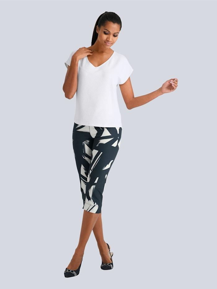 Alba Moda Hose in aufregendem Grafik Print, Marineblau/Off-white