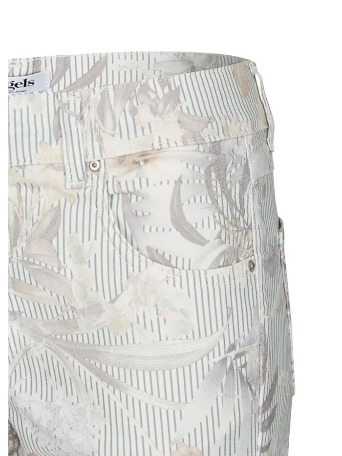 Jeans 'Ornella Cargo' mit geblümten, gestreiften Details