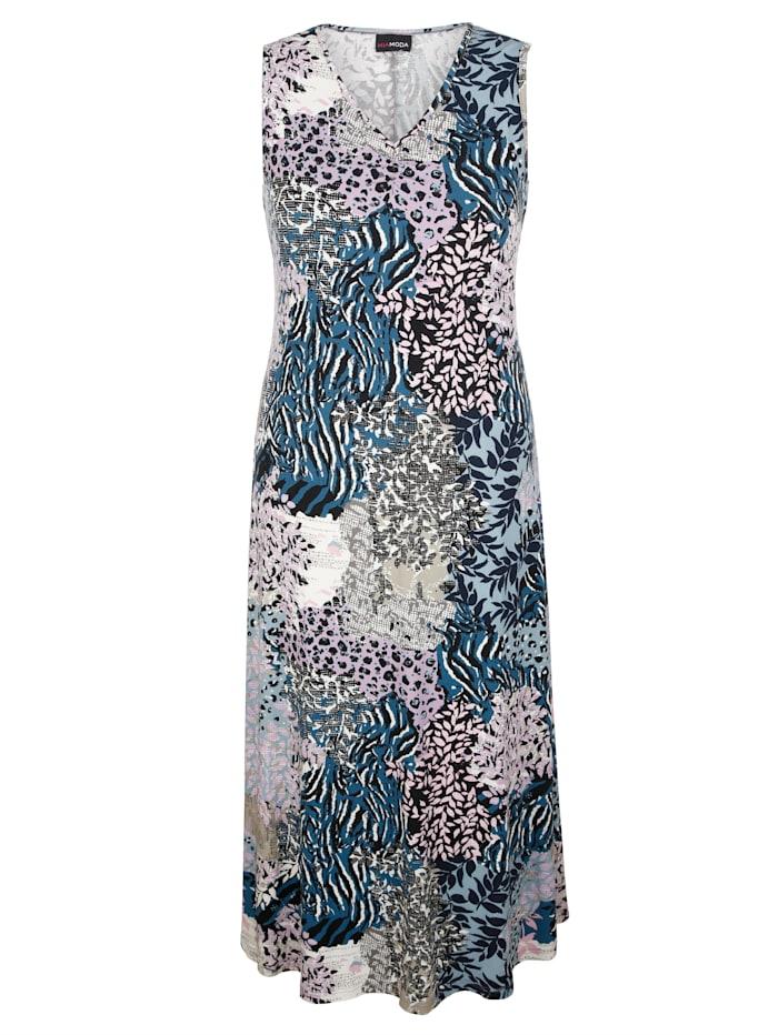 MIAMODA Šaty s prodlužujícím výstřihem do V, Modrá