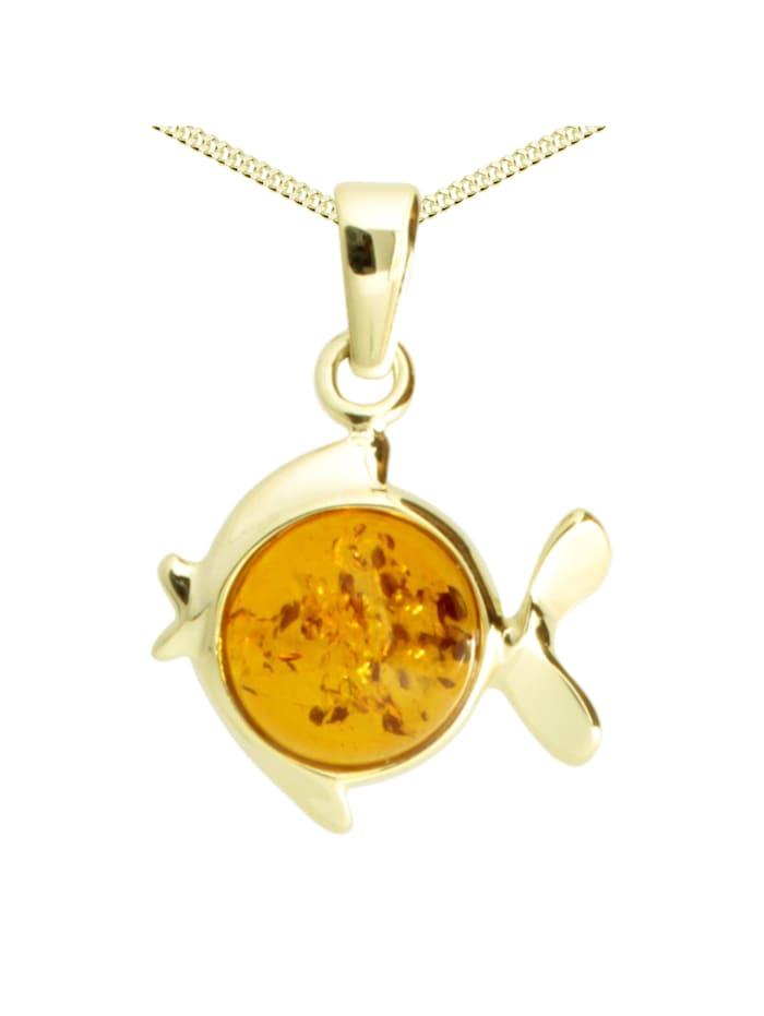 OSTSEE-SCHMUCK Kette mit Anhänger - Fisch - Gold 333/000 -, gold