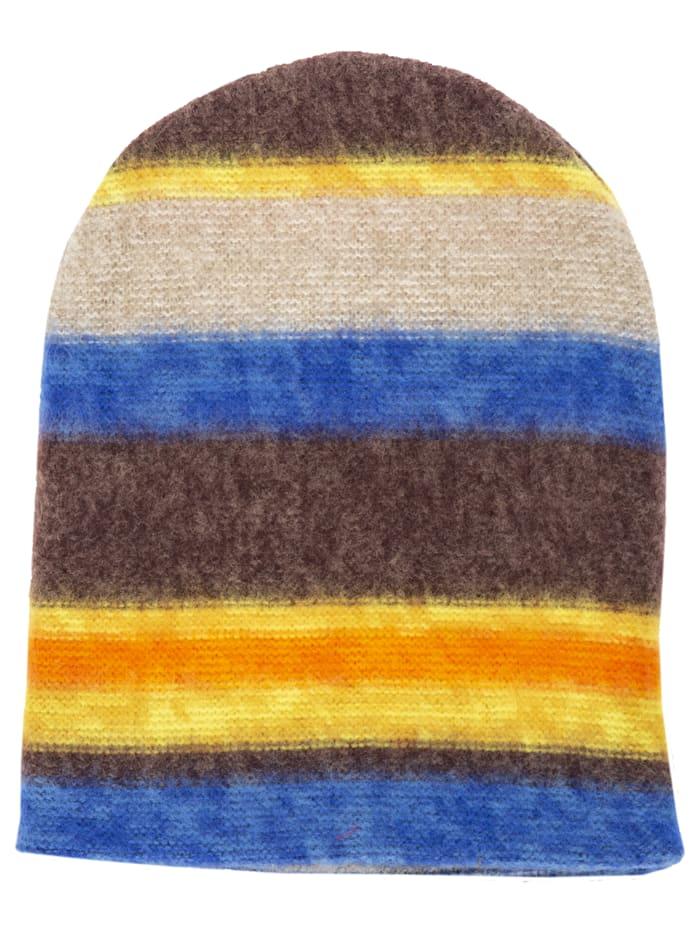 APART Strickmütze mit bunten Streifen, multicolor-grey
