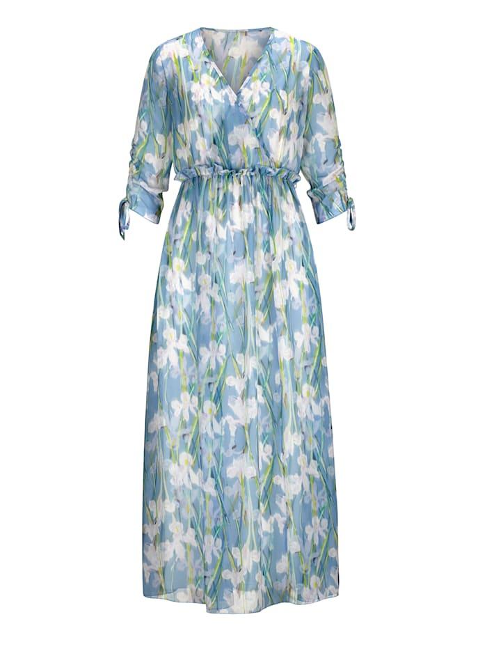 Alba Moda Kleid im farbharmonischen Blumendruck allover, Blau/Off-white